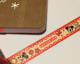 Minnie Mouse washi tape, Minnie Mouse tape, Minnie Mouse washi, character washi, cartoon washi, character tape, red, black, planner tape