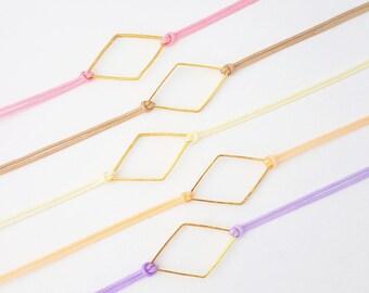 Diamond Charm Bracelet ~ Geometric bracelet, Rhombus bracelet, Diamond bracelet, Minimalist bracelet, Geometric jewellery, Minimal jewellery