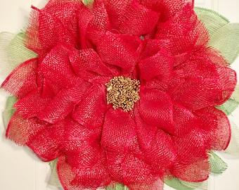 Poinsettia Burlap Mesh Wreath, Poinsettia Wreath