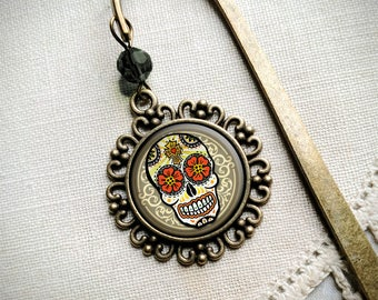 Sugar Skull brass book hook bookmark with dangling glass cabochon accent