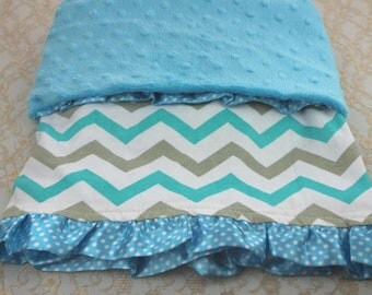 Baby blanket blue minky with baby cotton with chevron and satin ruffles-blue crib blanket minky- blue minky security blanket