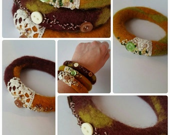 Earth colours. Set of 3 Wet felted bangles with beads and buttons.