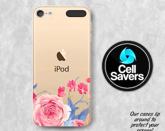 Pink Rose Clear iPod 5 Case iPod 6 Case iPod 5th Generation iPod 6th Generation Rubber Case Gen Clear Case Vintage Floral Rose Tumblr Flower