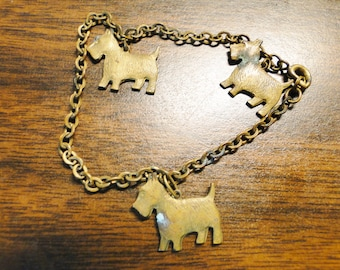 Vintage Scotty Dog Charm Bracelet - Scottish Terrier Charm Bracelet - Neat Piece!