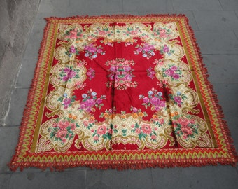 Vintage Turkish rug,bedspread,tablecloth,wall hanging rug,55 x 55 inches,decorative rug