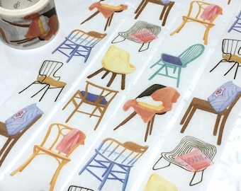 chair washi tape 5M x 3cm design chair cool chair theme wide masking tape comfy chair sofa tailor made chair custom made handmade chair deco