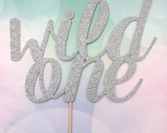 Personalised large cake topper, wild one, gold, glitter