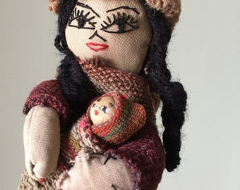 Bolivian Folk Art Doll with Two Babies Wool Rag Doll