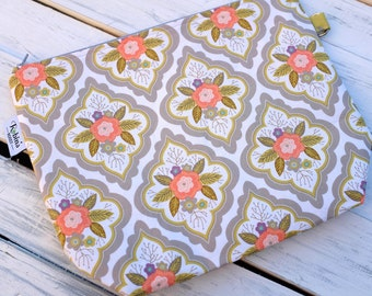 Peach Flowers - Knitting Project Bag - Hand Made