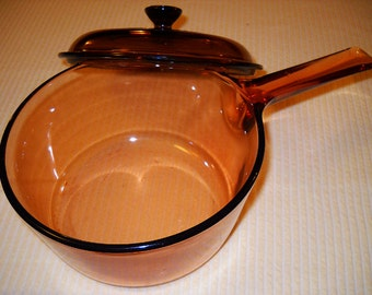 Vintage 80's Corning Ware Amber Visions large 1.5L Saucepan with Lid - Excellent Condition