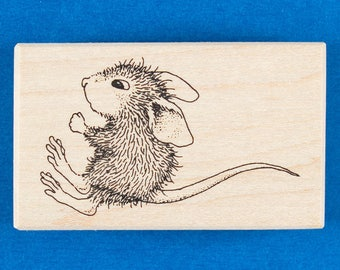 House Mouse Rubber Stamp of a Cute Mouse Jumping or Bouncing - Stampa Rosa 102