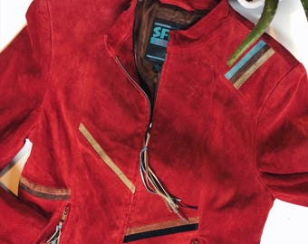 Vintage 80s Accented Red Suede Jacket