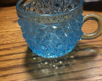 Blue Cut Glass Tea Cup