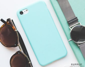 iPhone Case - Matte Aqua - Rubber iPhone Case, iPhone Case Aqua, iPhone 7 Case, Minimalist iPhone Case, Soft iPhone Case, Matte Aqua Case