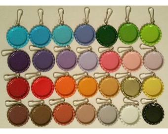 25 Painted Bottlecap Zipper Pulls, Zipper Charms, Painted Flat Bottle Caps, Craft Kit, Supplies