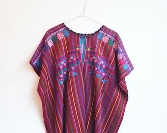 Vintage hippie boho guatemala huipil poncho top blouse S/M
