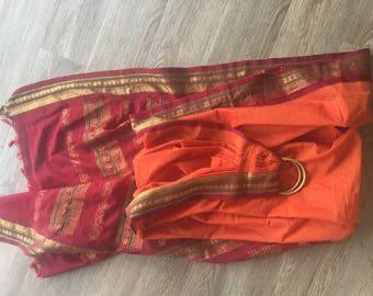 Orange and red sari ring sling