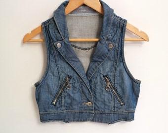 Vintage Women's Denim Vest, Cropped Vest, Jean Vest, Size S