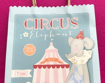 Tilda Circus Elephant with Clown Look Material Kit - FREE shipping within the UK