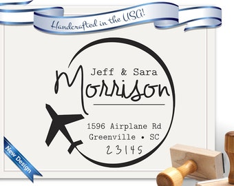 Travel and Airplane Return Address Stamp - Perfect for Gifts, Housewarmings, Weddings & Christmas - SKU 1593