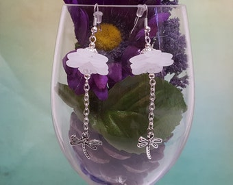 Dancing Dragonfly Earrings with Frosted Acrylic Flowers and Silver Dragonflies