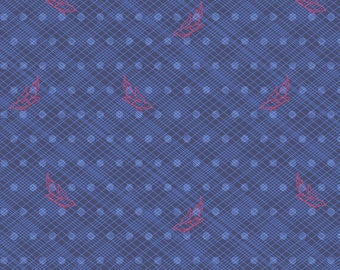 76 Seventy-Six by Alison Glass Woven in Denim A-8447-B cotton fabric andover modern material quilting supplies blue red birds