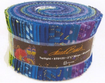 Laurel Burch Twilight Jelly Roll with Metallic Accents 40 strips cotton precut quilting fabric material pinks purples blue black ST0123