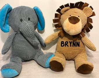 Personalized Corduroy Stuffed Animals(Elephant/Lion/Bear/Dinosaur)/Personalized stuffed animals