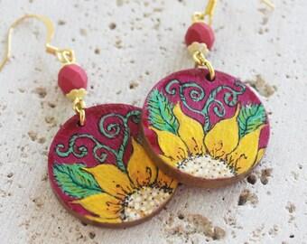 Summer earrings, handpainted earrings, handpainted wood earrings, flower earrings, flower jewelry, wood earrings, art earrings, wearable art