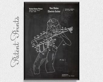 Eddie Van Halen Electric Guitar Patent Print, Music Poster, Music Art, Music Art Print, Music Wall Art, Music Wall Decor, Music Decorations