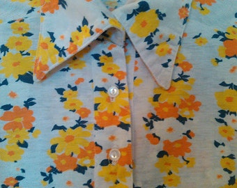 Handmade Vintage 1960's-1970's White With Yellow, Orange & Navy Blue Floral Design Cotton Fleece  3/4 Sleeve Front Pockets Tunic/Cardigan