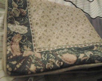 Vintage Tapestry Calico and Velour Cushion Cover