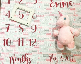 Personalized Baby Monthly Milestone Blanket Photo prop baby blanket Birthday Photo prop Baby Birthday Milestone Blanket