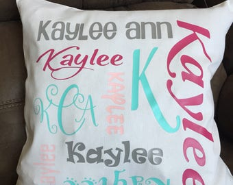 Personalized Name Pillow Monogrammed Name Pillow Graduation gift Birthday gift Dorm Decor Bedroom decorative pillow