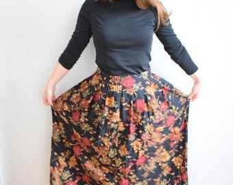 Fall skirt, long fall skirt with autumn leaves, vintage long skirt, autumn skirt, long flower skirt