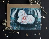 Unicorn post card - high quality print - envelope included - A6
