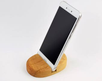 Olive wood iPhone mobile phone cell phone iPod tablet stand