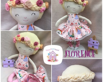 Handmade Soft bodied Doll Florence Ready To Buy Fabric Doll