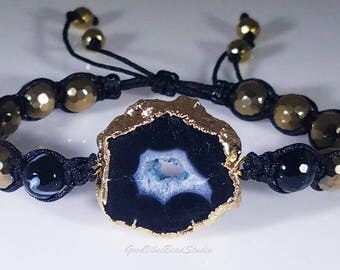 Black and Gold Geode Druzy Agate Slice Adjustable Hematite & Sardonyx Bead Bracelet