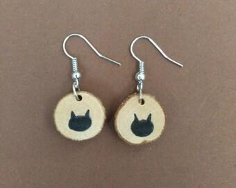 wood earrings cat kitten Birch
