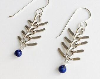 Fishbone Lapis Lazuli Silver Earrings