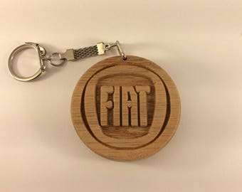 FIAT Car Logo Wooden Keyring Keychain Fob * Can be PERSONALISED *
