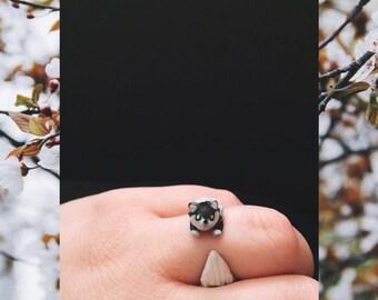 Ooak black fox ring, cute fox ring, fox jewelry, statement ring, kawaii ring, fall jewelry, cute rings, adjustable ring, cute fox, black fox