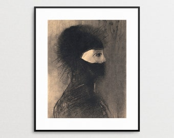 Odilon Redon Print - Woman in Armor - Monochrome - Beige - Tan - Dark - Giclee - Symbolism - Drawing - Art - Armor - Wall Art - Helmet