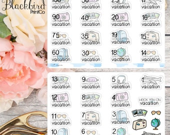 Holiday / Vacation Countdown Stickers | Hand Drawn original Planner Stickers [SE0003]