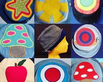Hippie hat, custom made hat, appliqué hat, denim hat, sun hat, embroidered hat, festival hat, boho hat, bucket hat, beach hat