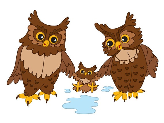 Owls Clipart Digital Vector Ows Baby Owl Woodland by TanitaArt