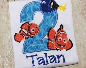 Fish Birthday Shirt/Nemo/Dory/Marlin/ages 1-9