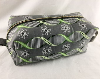 Toiletry Bag - Atoms and Double Helix- Biology- School Supplies - Pencil, Electronics case- Valentine's Day Gift