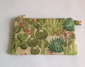Handmade cactus fabric clutch purse, pouch, mothers day gift